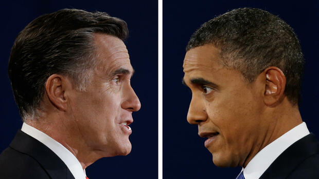 huGO-BildID: 28246092 In a photo combo, Republican presidential nominee Mitt Romney and President Barack Obama speak during the first presidential debate at the University of Denver, Wednesday, Oct. 3, 2012, in Denver. (Foto:David Goldman/Eric Gay/AP/dapd) Quelle: dapd