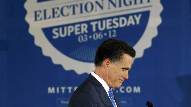 "Der Republikaner Mitt Romney spricht in Boston, nach den Vorwahlen am ""Super Tuesday"". Quelle: REUTERS"
