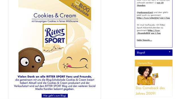 Eine Tafel Ritter Sport Cookies & Cream. Quelle: Screenshot
