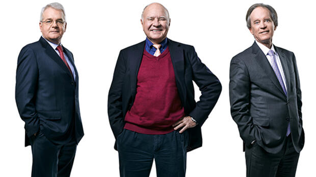 Börsen-Roundtable mit den Investmentlegenden Felix Zulauf, Marc Faber und Bill Gross. Quelle: Brad Trent