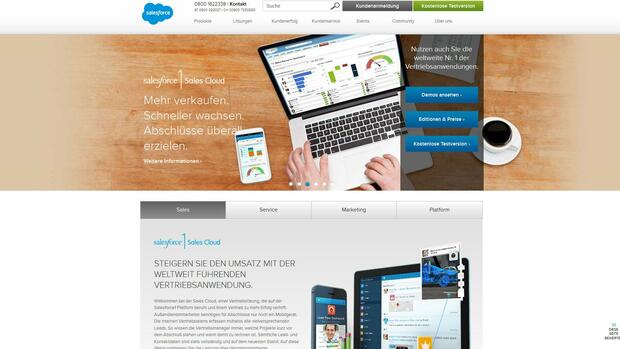 Homepage salesforce.com Quelle: Screenshot