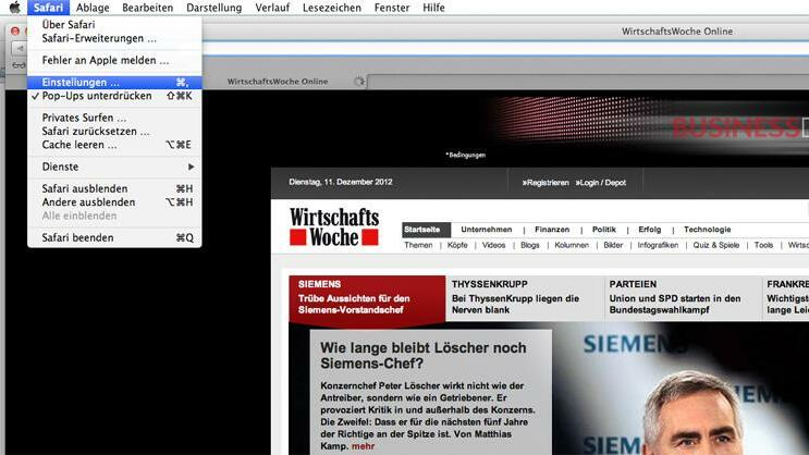 Screenshot von Safari