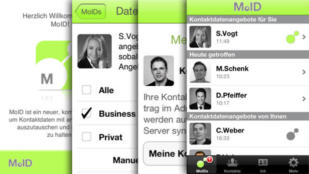 Screenshots der iPhone-App von Moid Quelle: Screenshot