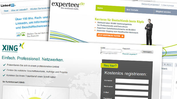Screenshots der Karriereportale LinkedIn, Xing und Experteer Quelle: Screenshot