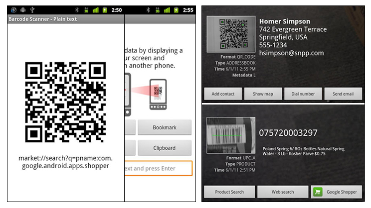 Screenshots von Barcode Scanner Quelle: Google