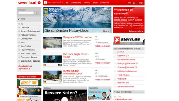 Screenshot der Webseite Sevenload Quelle: Screenshot