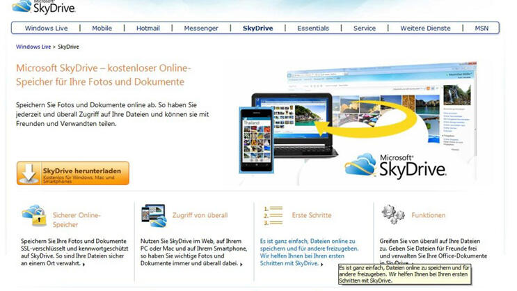 Skydrive Quelle: Screenshot