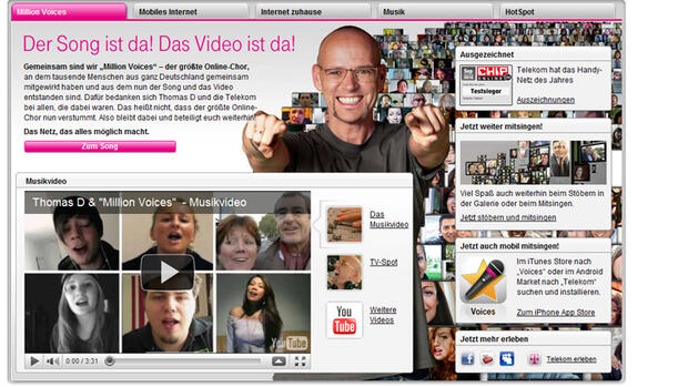 Screenshot Telekom-Homepage Quelle: Screenshot