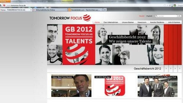 Screenshot der Internetseite von Tomorrow Focus Quelle: Screenshot