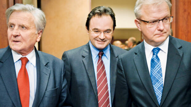 Trichet, Papakonstantinou, Rehn (von links) Quelle: Picture-Alliance/dpa