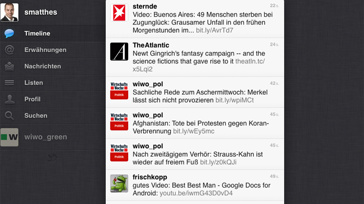 Screenshot App von Twitter Quelle: Screenshot