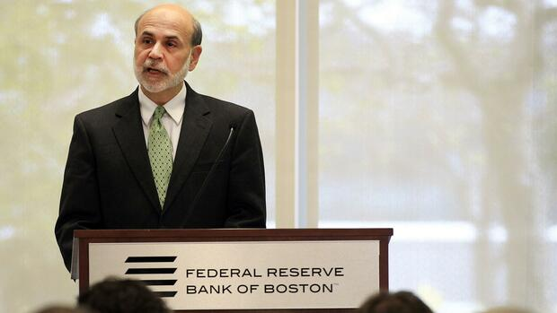 Ben Bernanke, Chef der Federal Reserve Bank bei einer Rede in Boston. Quelle: Reuters