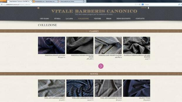 Screenshot der Internetseite von Vitale Barberis Canonico Quelle: Screenshot