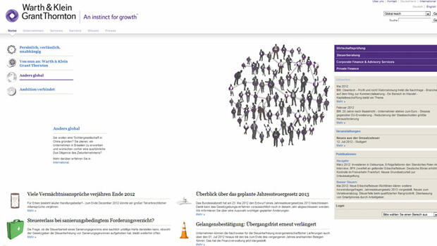screenshot Warth & Klein Grant Thornton Gruppe, Düsseldorf Quelle: Screenshot