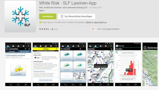 Lawinen-Warnung per App Quelle: Screenshot