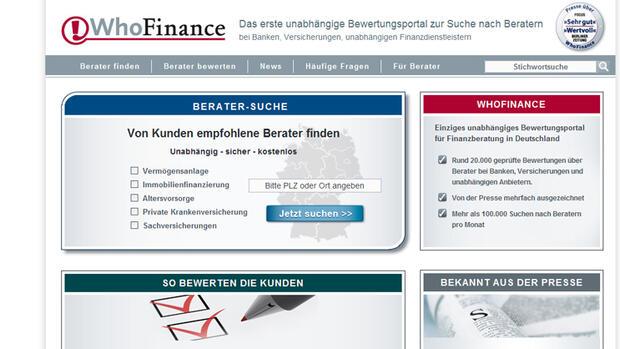 Screenshot der Internetseite Whofinance Quelle: Screenshot