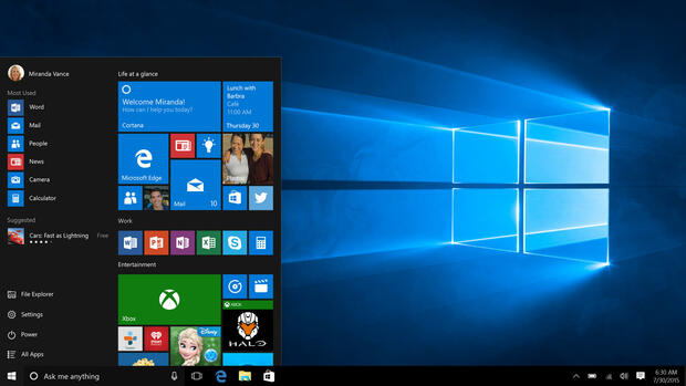 Windows-10-Startmenü Quelle: dpa
