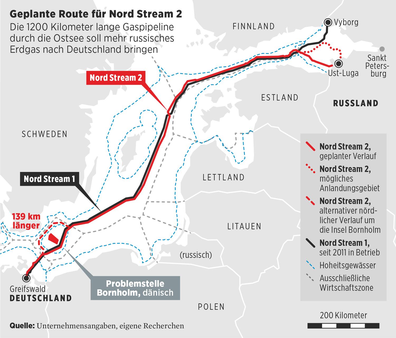 Geplante Route für Nord Stream 2