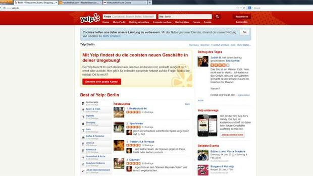 Internetseite Yelp Quelle: Screenshot