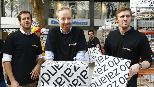 Von links nach rechts das Zalando-Management: Robert Gentz, Rubin Ritter and David Schneider. Quelle: REUTERS